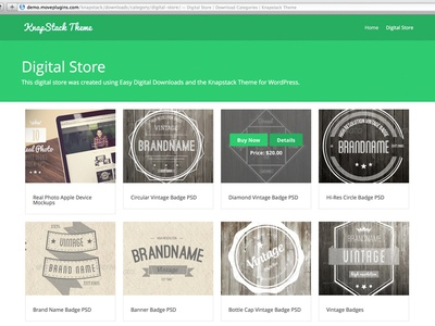 Ecommerce Theme Demo easydigitaldownloads wordpress flat knapstack theme