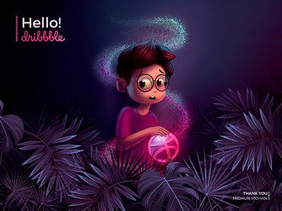 Hello Dribbble dribbbleworld excitement forest wonderworld illustration hellodribbble firstshot