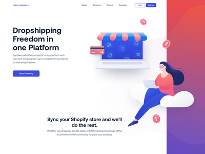 FreeCommerce-Web cart marketplace shopping shopify money blue dropshipping payment cloud ecommerce landing page website icons web illustration ux ui drawing clean creative