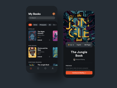 E-Book App drawing pricing tags profile reading dashboad ebook sign in dark ui web subscription apps mobile app icons website clean illustration ux ui creative