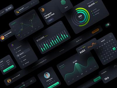 UI Components | Dark uiux ux ui dashboard webdesign components icon chart graph darktheme uikit landingpage dark widgets styleguide darkmode darkui darkapp darkdashboard calendar