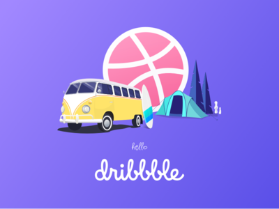 Hello Dribbble surfing tent hello dribbble drawing vintage illustration