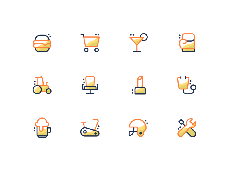 Icon Set drawing illustation creative icon icon set icons vector orange yellow outline icon ui  ux flat icon food shopping gym settings boxing glove beauty stethoscope office chair