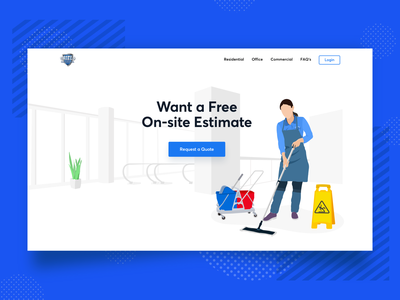 Commercial Cleaning Illustration white minimal cleaning service commercial cleaning warning signs creative work ui ux web mop service women maintenance cleaning clean blue character illustration drawing