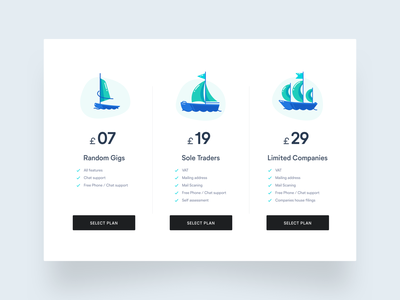 Pricing Page subscription pound pricing page dashboad green waves pricing plan money windsurf sailboat ux ui clean minimal illustration blue drawing creative pricing