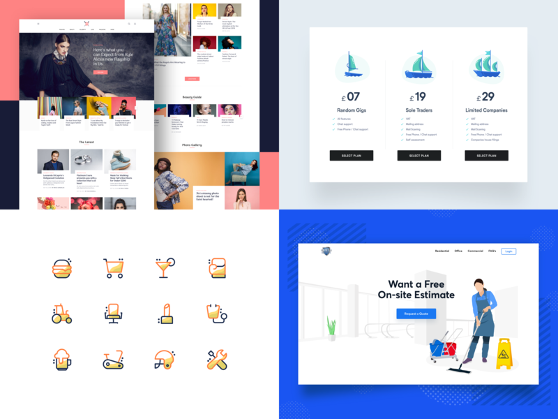 My Top 4 commercial celebrity beauty fashion cleaning icons pricing blue minimal website web clean vector drawing ux ui top4shots design illustration creative