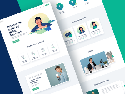 Education Landing Page class room learning exam student green website design landing page website icons web ux ui design beauty minimal illustration clean blue drawing creative