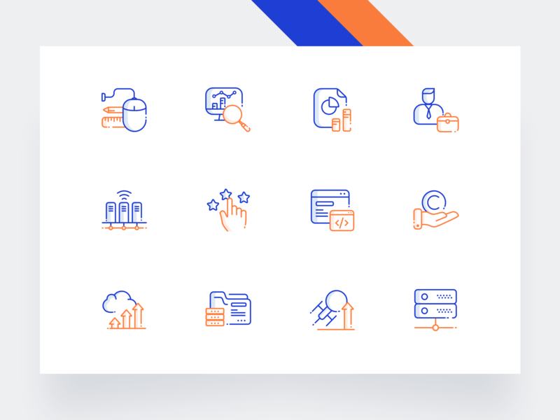 Icon Set folder iconography gustar hand cloud development user mouse networking orange icon set icons ux ui minimal illustration clean blue drawing creative