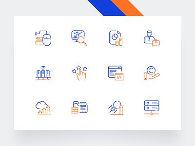Icon Set folder iconography gustar hand cloud development user mouse networking orange icon set icons ux ui minimal illustration clean blue drawing creative