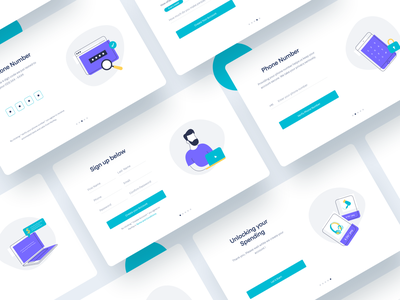 Onboarding Screens password create account mobile laptop cyan violet sign up sign in onboarding screen vector onboarding website web ux ui minimal illustration clean drawing creative