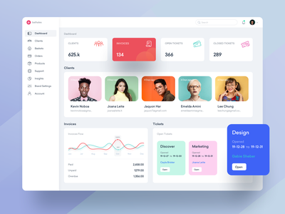 Dashboard Design typography dashboard ui web landing branding user blue icons design illustration product tickets clients invoice dashboard ux ui clean drawing creative