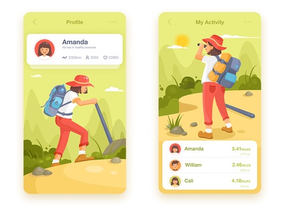 climbing app forest mountain bag climber climbing ui sport list illustration health card app