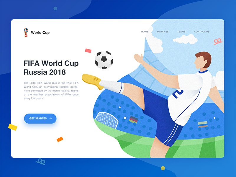 2018 FIFA World Cup graphic soccer web page ui sport illustration design card app cup world