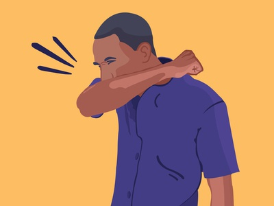 Coughing into elbow illustration africa kenya illustraion illustrator cough covid-19 corona coronavirus