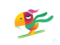 Skiing Parrot