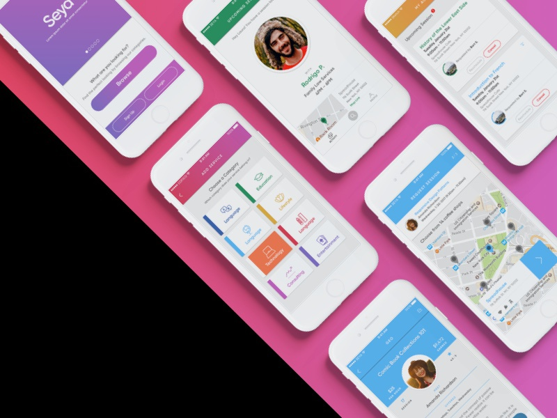 Seya What? app colours freelance ios mobile product