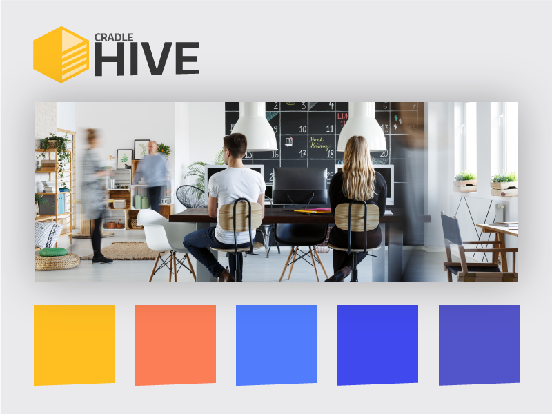 This brand is a Hive 5 colours cradle hive identity brand