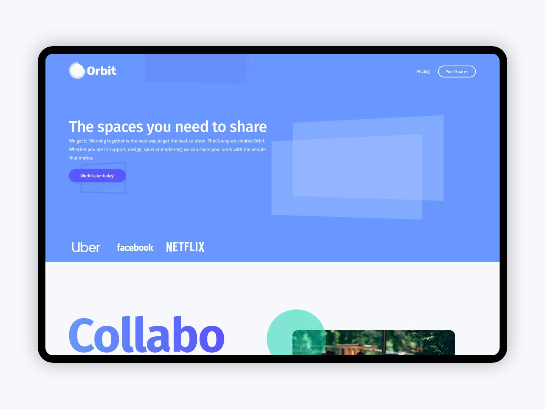 Project Orbit ux ui web website design brand colours