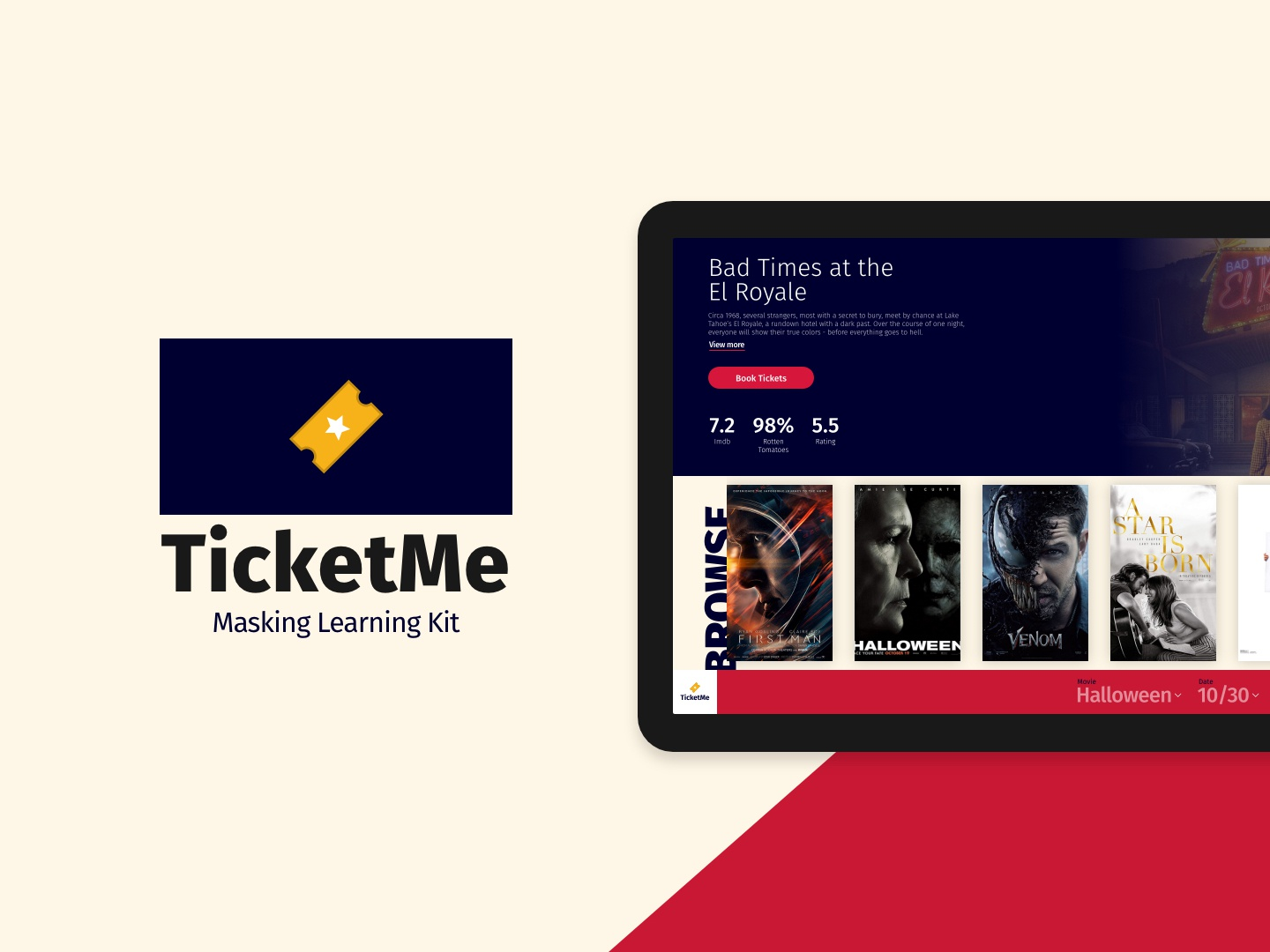 TicketMe - A Learning UI Kit adobexd movies ui app web design