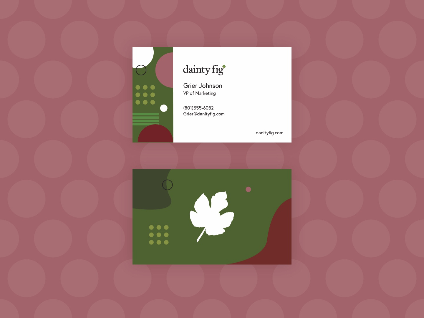 What dainty cards you have! busines card identity dainty website brand colours