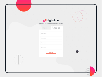 DigitalMe Signup/Signin adobexd animation brand app web website design branding ux vector ui