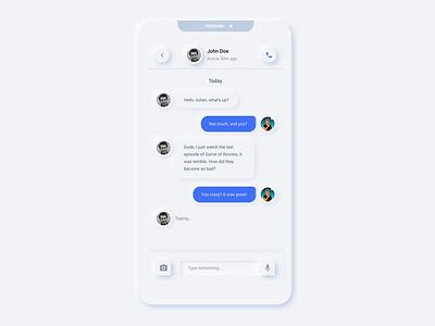 Messenger Redesigned - Neumorphism neumorphic design mobile app app messenger app mobile messenger 2020 2020 trend neumorphism