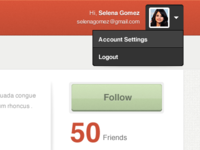 User profile header and follow button
