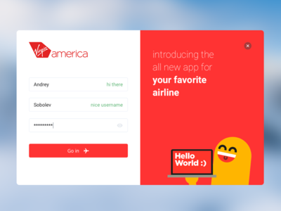 Virgin America App login page