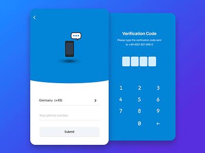 Verification Process UI UX Design sms verification code code submit login keyboard app verify verification