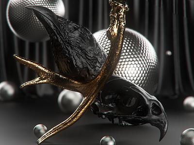 black birds gold golden concept bird cgi illustration dark lighting abstract motiondesigner alperdurmaz art animation 3d design