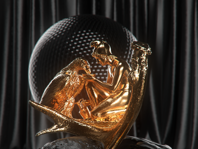 bird gold concept design cgartist visualart digitalart motiongraphics motion designer designer 3dartist concept rendering black illustration dark lighting motiondesigner alperdurmaz animation 3d design