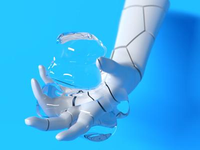 blue hand rendering digitalart illustration abstract motiondesigner alperdurmaz art animation 3d design