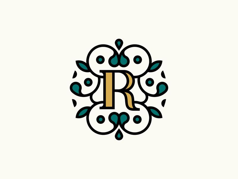 Flower Badge flourish florist antique gold royal green typography lettering illustraion circle plant leaves badge floral line icon logo flowers ornaments