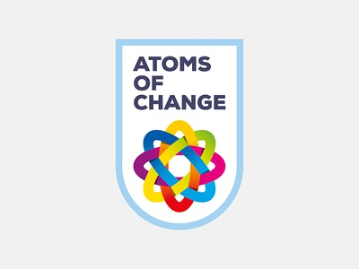 Atoms Of Change Crest icon emblem organization change concept activist bold blend crest atom