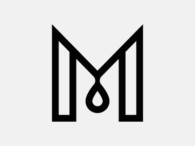 Letter M monogram form type espresso stripe drop grid letter coffee modern icon