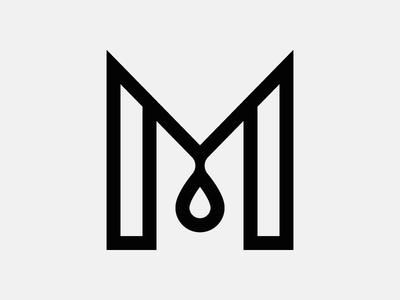 Letter M monogram form type espresso stripe drop grid letter coffee modern icon