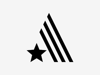 Letter A black branding typof modernism coffee shop america usa star stripes monogram icon vector