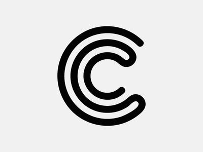 Letter C stripe line geometry circle icon logo alphabet lettering vector monogram coffee letter