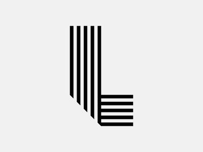 Letter L typography lettering fold bend line stroke stripe monogram icon logo vector coffee