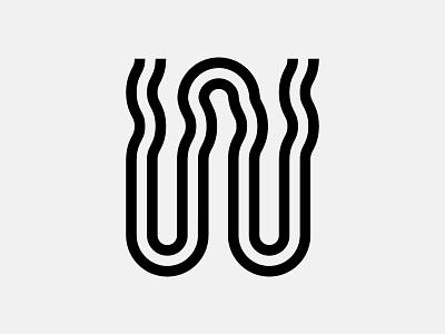 Letter W steam foam froth milk stroke line vector monogram typography lettering espresso coffee