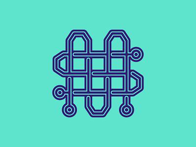 M&S Hi-Dent Badge V2 logo vector electric square stroke lines circuit board neon typography lettering