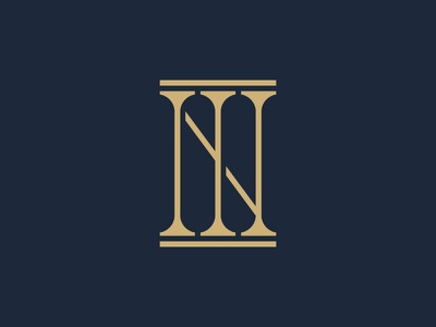 NI Lawyer Logo foundation line concept gold typography lettering pillars geometry justice lawyer law logo