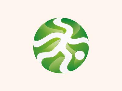 Field Sports Management Logo grass circle gradient kids player ball runner soccer pitch 5 a side football logo