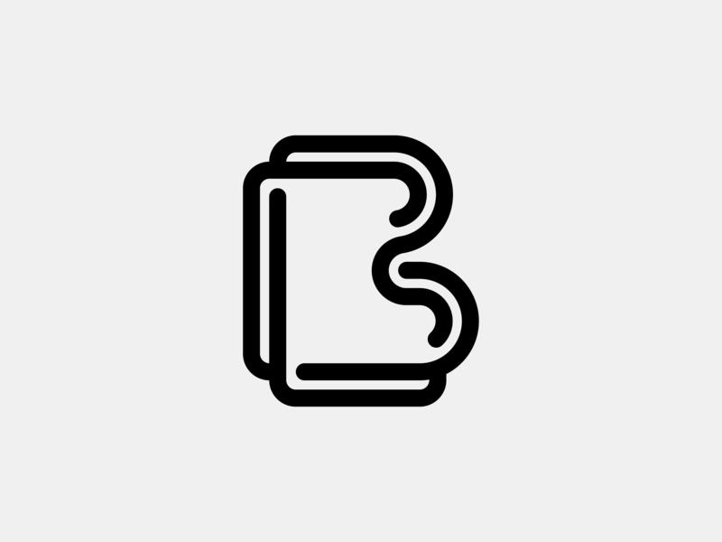 Letter B branding illustration curves grid alphabet black monogram symbol icon blend line stroke geometry logo vector lettering typography