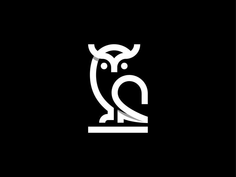 Owl shape geometic golden ratio logotype outline simplicity negative space blackandwhite simple logo vector night stroke icons line bird logo animal logo monogram icon logo