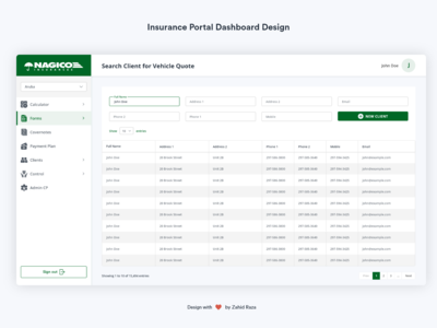 Insurance Portal Dashboard Design