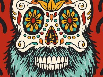 Mexican Lager bearded illustration sugar skull