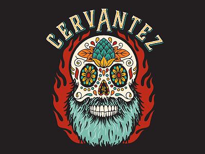 Cervantez beer illustration sugar skull