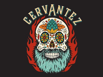 Cervantez beer illustration sugar skull