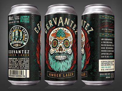 Cervantez Amber Lager illustration hops beer